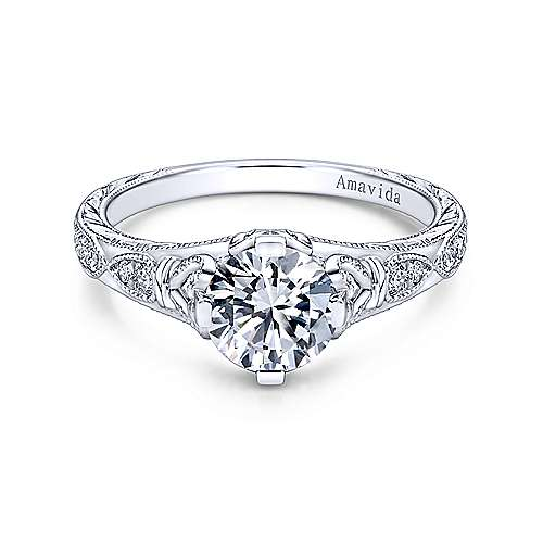 Kirie Platinum Round Straight Engagement Ring angle 1