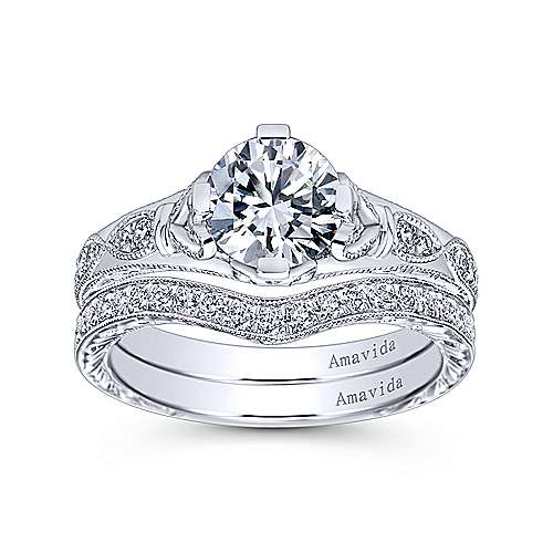 Kirie Platinum Round Straight Engagement Ring angle 4