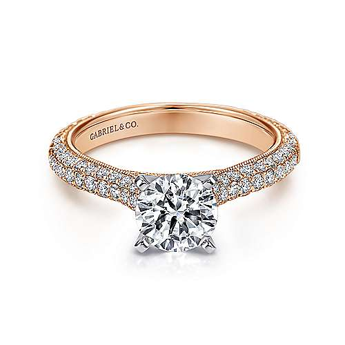 Kirsten 14k White And Rose Gold Round Straight Engagement Ring angle 1