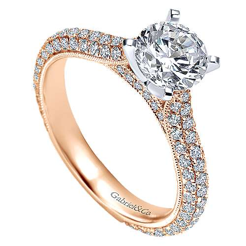 Kirsten 14k White And Rose Gold Round Straight Engagement Ring angle 3