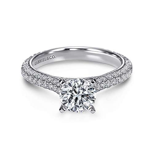 Kirsten 14k White Gold Round Straight Engagement Ring angle 1