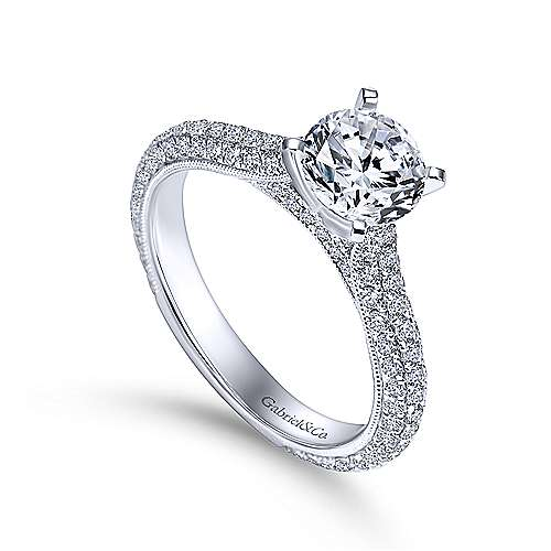 Kirsten 14k White Gold Round Straight Engagement Ring angle 3