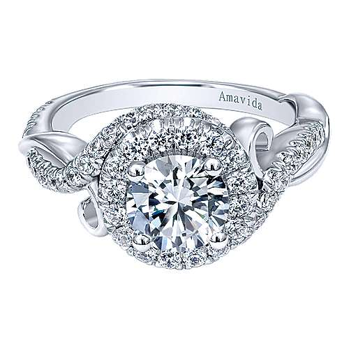 Gabriel - Kiss 18k White Gold Round Halo Engagement Ring