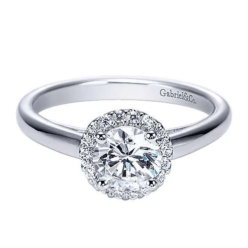 Gabriel - Kitty 14k White Gold Round Halo Engagement Ring