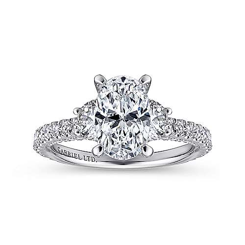 Knight 18k White Gold Oval 3 Stones Engagement Ring angle 5