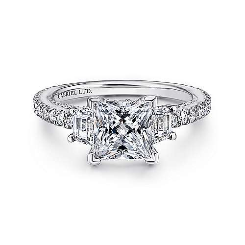 Gabriel - Knight 18k White Gold Princess Cut 3 Stones Engagement Ring