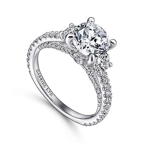 Knight 18k White Gold Round 3 Stones Engagement Ring angle 3