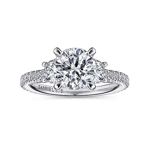 Knight 18k White Gold Round 3 Stones Engagement Ring angle 5
