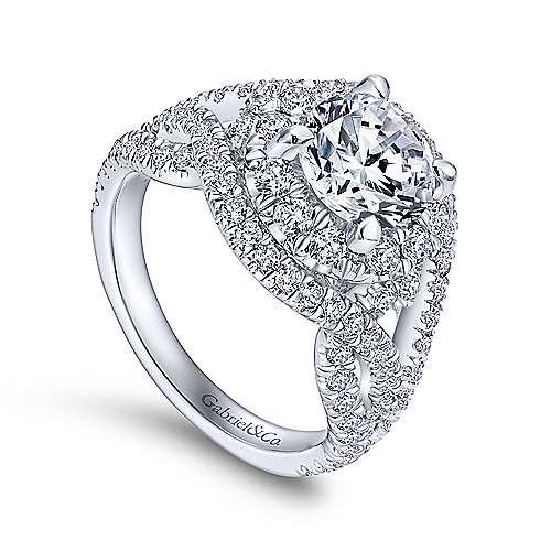 Krishna 18k White Gold Round Halo Engagement Ring angle 3