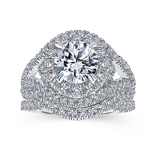 Krishna 18k White Gold Round Halo Engagement Ring angle 4