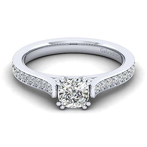 Gabriel - Krista 14k White Gold Cushion Cut Straight Engagement Ring
