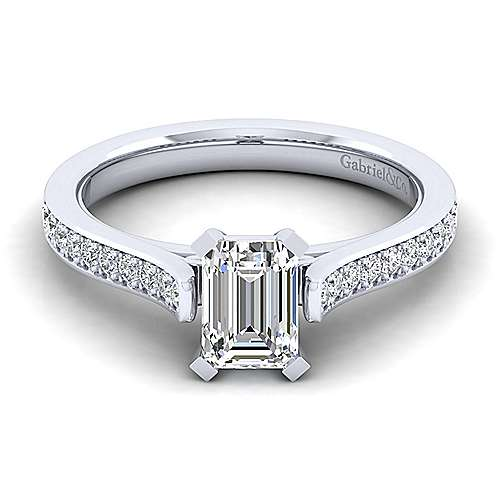 Gabriel - Krista 14k White Gold Emerald Cut Straight Engagement Ring