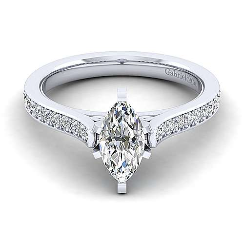 Gabriel - Krista 14k White Gold Marquise  Straight Engagement Ring