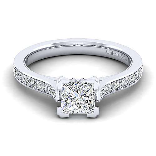 Gabriel - Krista 14k White Gold Princess Cut Straight Engagement Ring