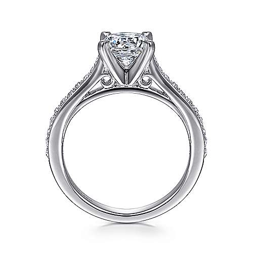 Krista 14k White Gold Round Straight Engagement Ring angle 2