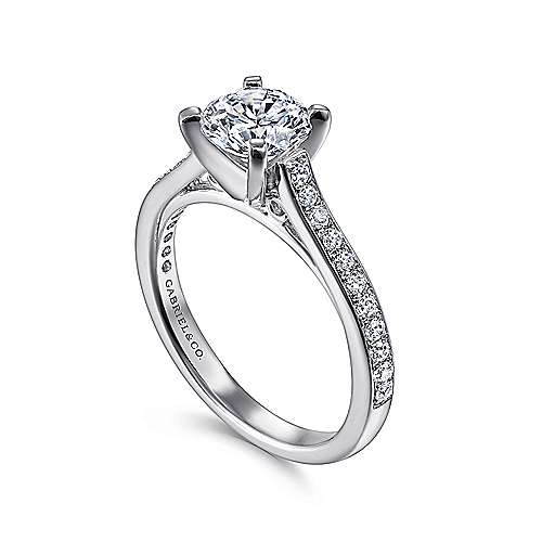 Krista 14k White Gold Round Straight Engagement Ring angle 3