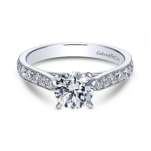 Gabriel - Kristen 14k White Gold Round Straight Engagement Ring