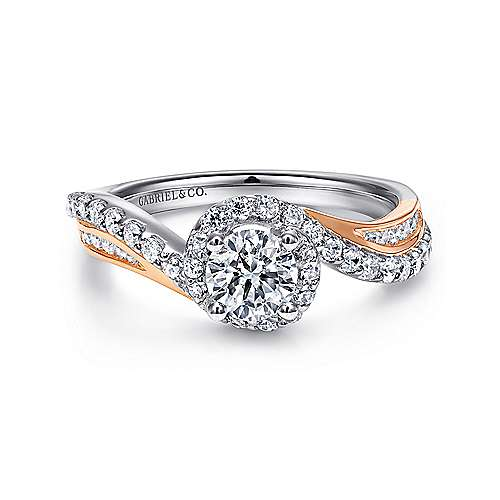 Kyla 14k White And Rose Gold Round Bypass Engagement Ring angle 1