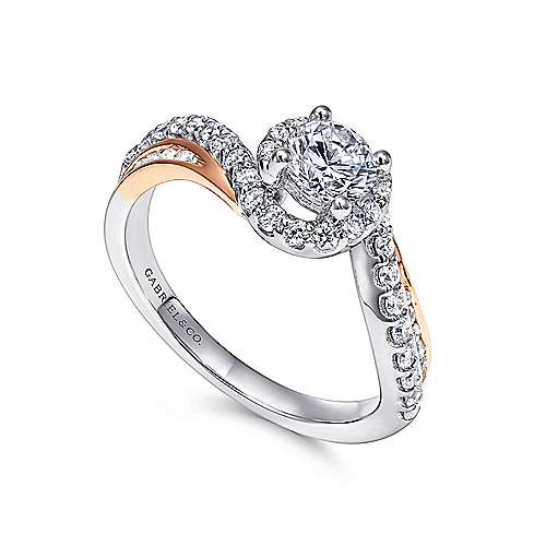 Kyla 14k White And Rose Gold Round Bypass Engagement Ring