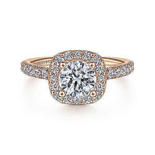 Gabriel - Kylie 14k Pink Gold Round Halo Engagement Ring