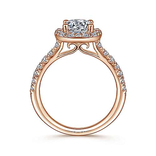 Kylie 14k Pink Gold Round Halo Engagement Ring angle 2