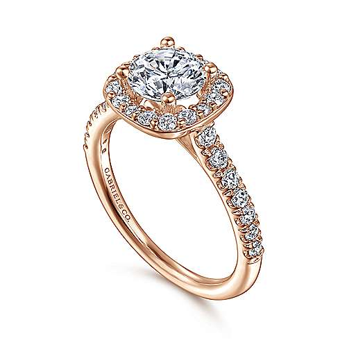 Kylie 14k Pink Gold Round Halo Engagement Ring angle 3