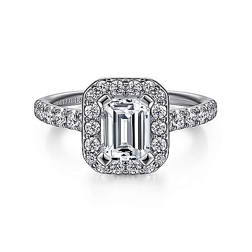 Gabriel - Kylie 14k White Gold Emerald Cut Halo Engagement Ring