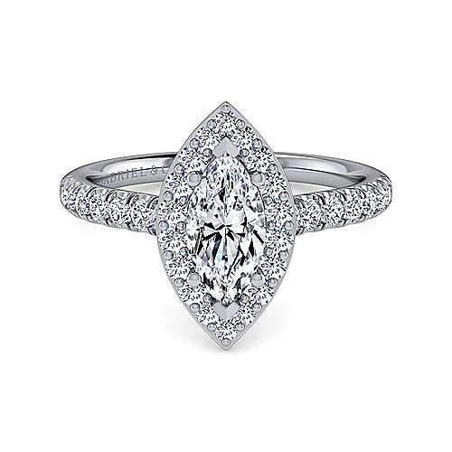 Gabriel - Kylie 14k White Gold Marquise  Halo Engagement Ring