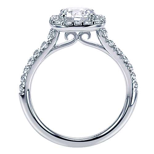Kylie 14k White Gold Round Halo Engagement Ring angle 2
