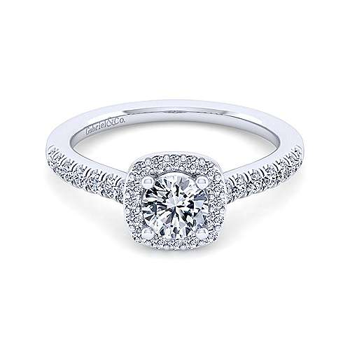 Gabriel - Kylie 14k White Gold Round Halo Engagement Ring