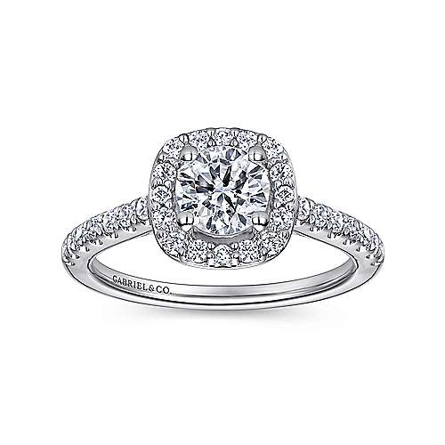 Kylie 14k White Gold Round Halo Engagement Ring angle 5