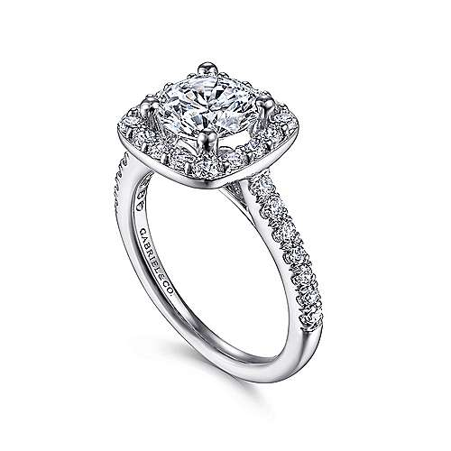 Kylie 14k White Gold Round Halo Engagement Ring angle 3