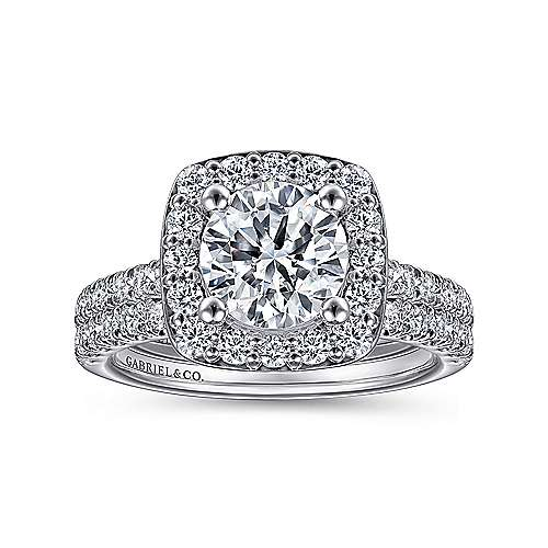 Kylie 14k White Gold Round Halo Engagement Ring angle 4