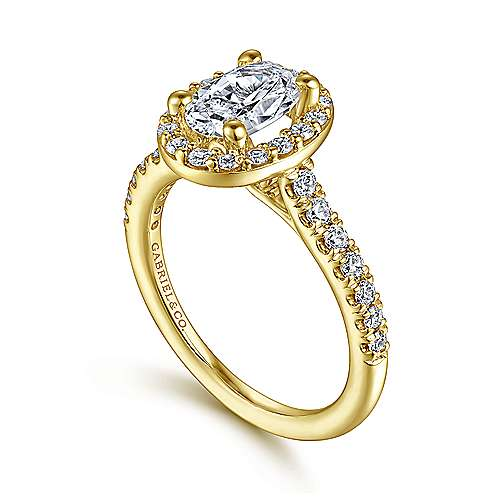 Kylie 14k Yellow Gold Oval Halo Engagement Ring angle 3