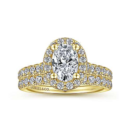 Kylie 14k Yellow Gold Oval Halo Engagement Ring angle 4