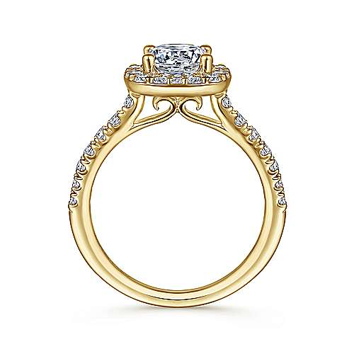 Kylie 14k Yellow Gold Round Halo Engagement Ring angle 2