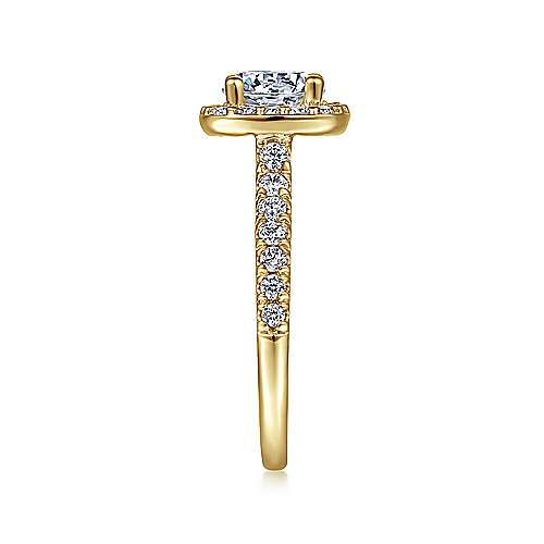 Kylie 14k Yellow Gold Round Halo Engagement Ring angle 5