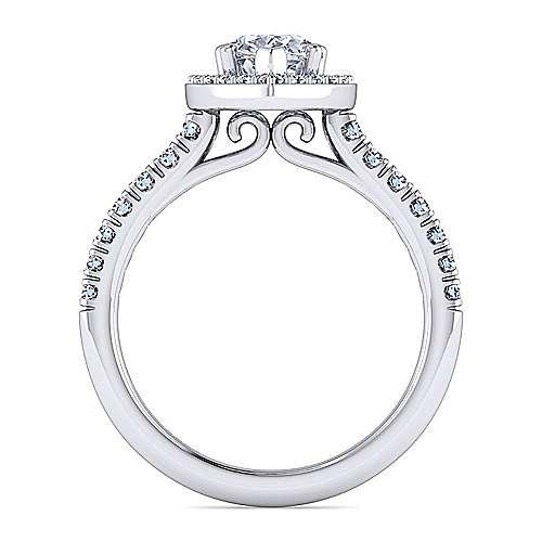 Kylie Platinum Pear Shape Halo Engagement Ring angle 2