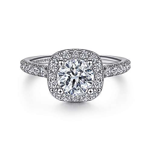 Gabriel - Kylie Platinum Round Halo Engagement Ring