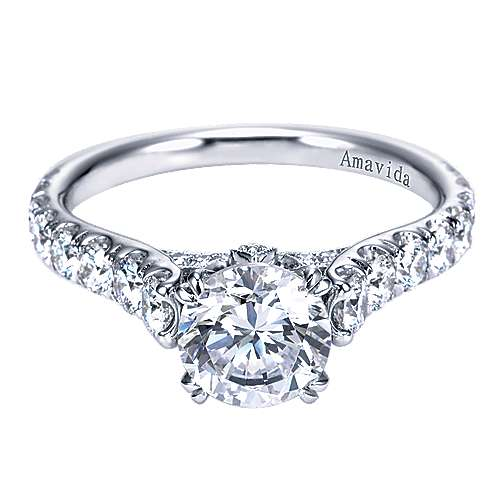Gabriel - Kyra 18k White Gold Round Straight Engagement Ring
