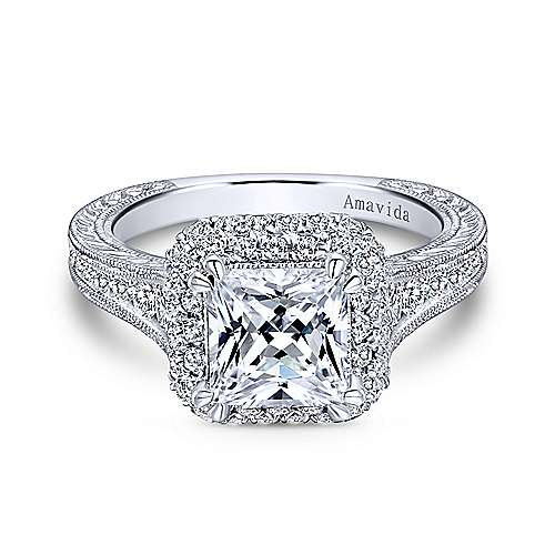 Perfect Lace 18k White Gold Princess Cut Double Halo Engagement Ring  EH59