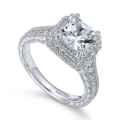 Lace 18k White Gold Princess Cut Double Halo Engagement Ring