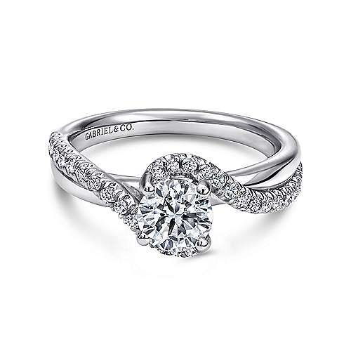 Gabriel - Lady 14k White Gold Round Bypass Engagement Ring
