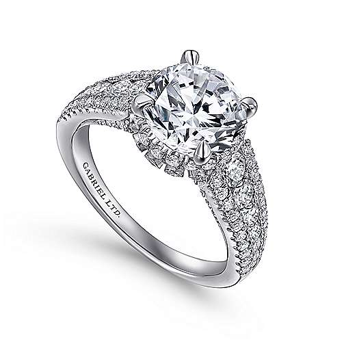 Lafayette 18k White Gold Round Halo Engagement Ring angle 3