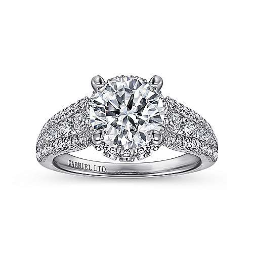 Lafayette 18k White Gold Round Halo Engagement Ring angle 5