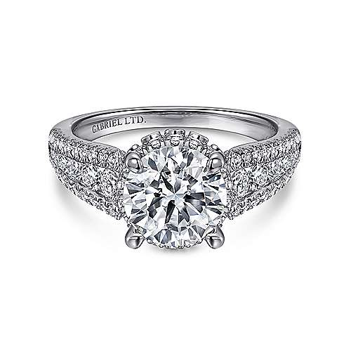 Gabriel - Lafayette Platinum Round Halo Engagement Ring
