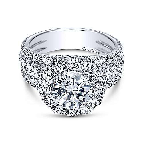 Gabriel - Lainey 18k White Gold Round Halo Engagement Ring