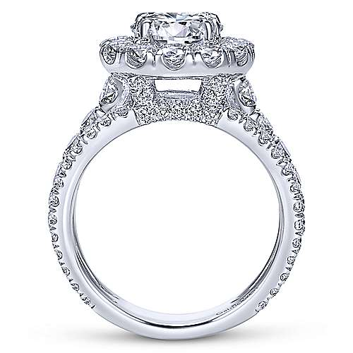 Lainey 18k White Gold Round Halo Engagement Ring angle 2