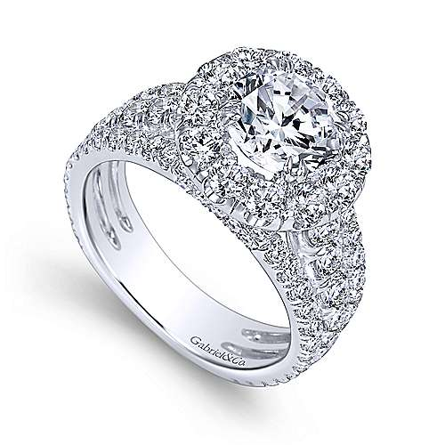 Lainey 18k White Gold Round Halo Engagement Ring angle 3