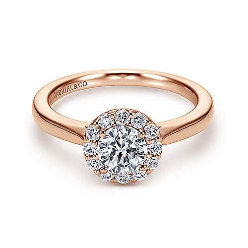 Gabriel - Lana 14k Rose Gold Round Halo Engagement Ring
